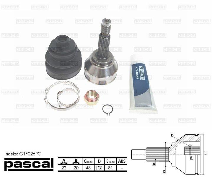 Przegub napędowy zewnętrzny PASCAL G1F026PC - darmowa dostawa do 5000 warsztatów Motointegrator Partner i 170 sklepów Inter Cars