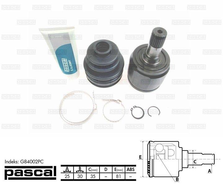Przegub napędowy zewnętrzny PASCAL G84002PC - darmowa dostawa do 5000 warsztatów Motointegrator Partner i 170 sklepów Inter Cars
