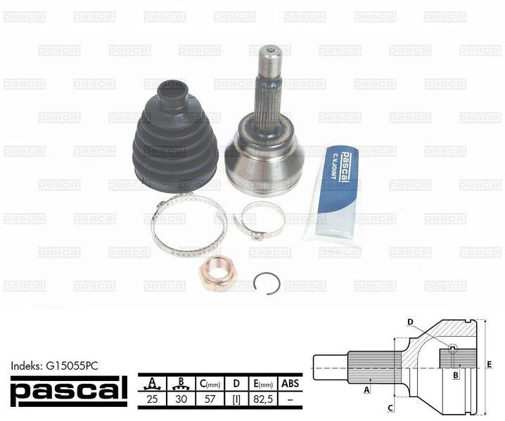Przegub napędowy zewnętrzny PASCAL G15055PC - darmowa dostawa do 5000 warsztatów Motointegrator Partner i 170 sklepów Inter Cars