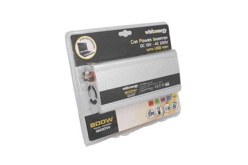 Przetwornica samochodowa WHITENERGY DC 12V-AC 230V 800W + USB