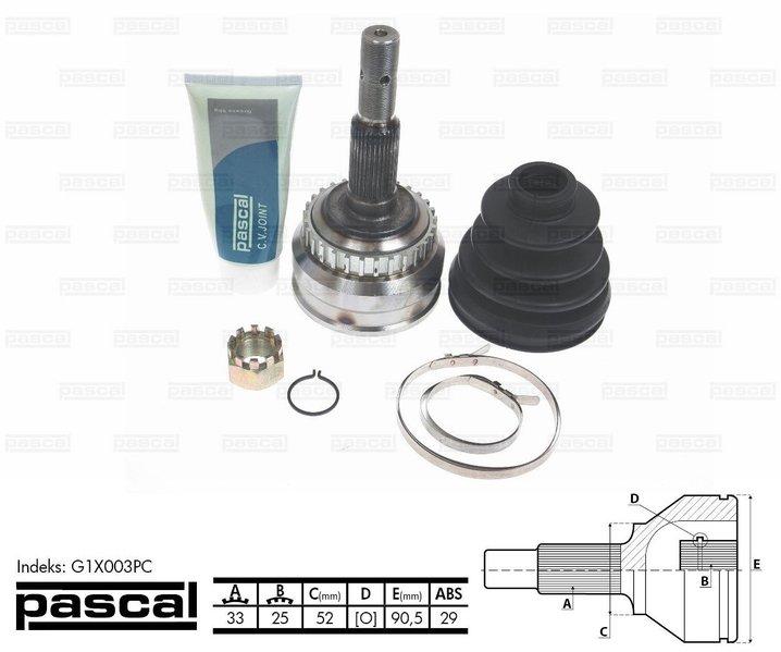 Przegub napędowy zewnętrzny PASCAL G1X003PC - darmowa dostawa do 5000 warsztatów Motointegrator Partner i 170 sklepów Inter Cars