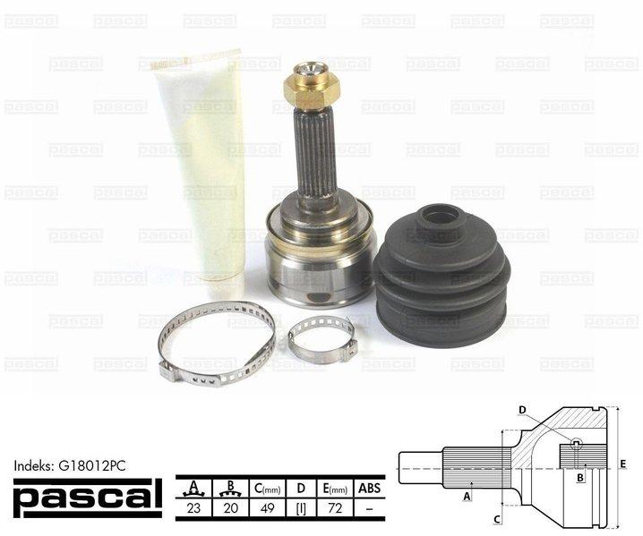 Przegub napędowy zewnętrzny PASCAL G18012PC - darmowa dostawa do 5000 warsztatów Motointegrator Partner i 170 sklepów Inter Cars