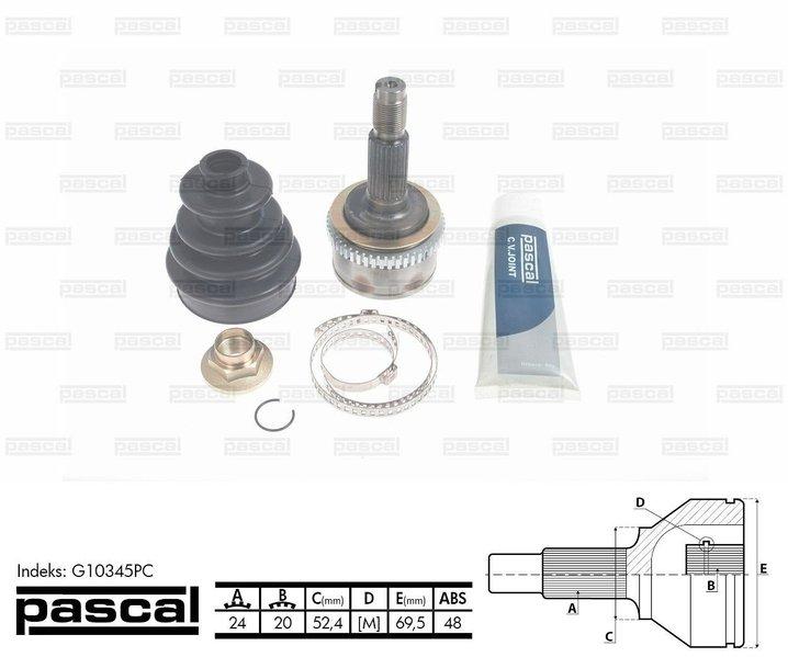 Przegub napędowy zewnętrzny PASCAL G10345PC - darmowa dostawa do 5000 warsztatów Motointegrator Partner i 170 sklepów Inter Cars