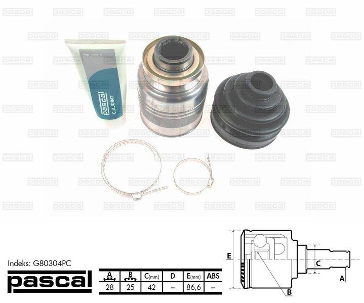 Przegub napędowy wewnętrzny PASCAL G80304PC - darmowa dostawa do 5000 warsztatów Motointegrator Partner i 170 sklepów Inter Cars
