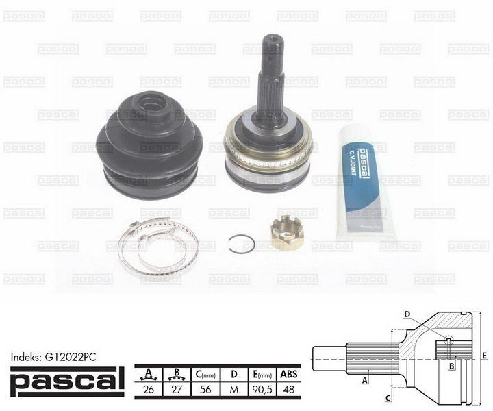 Przegub napędowy zewnętrzny PASCAL G12022PC - darmowa dostawa do 5000 warsztatów Motointegrator Partner i 170 sklepów Inter Cars