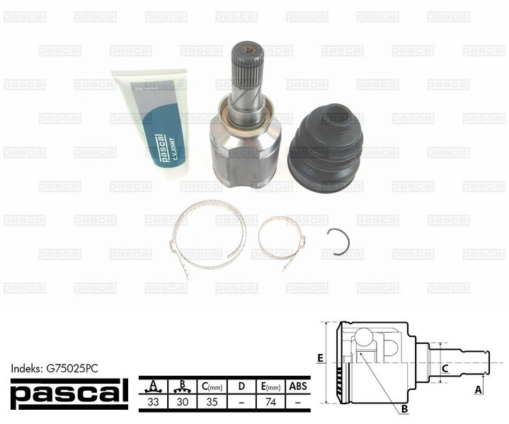 Przegub napędowy wewnętrzny PASCAL G75025PC - darmowa dostawa do 5000 warsztatów Motointegrator Partner i 170 sklepów Inter Cars