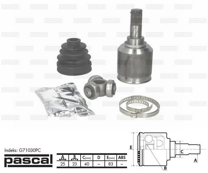 Przegub napędowy wewnętrzny PASCAL G71030PC - darmowa dostawa do 5000 warsztatów Motointegrator Partner i 170 sklepów Inter Cars