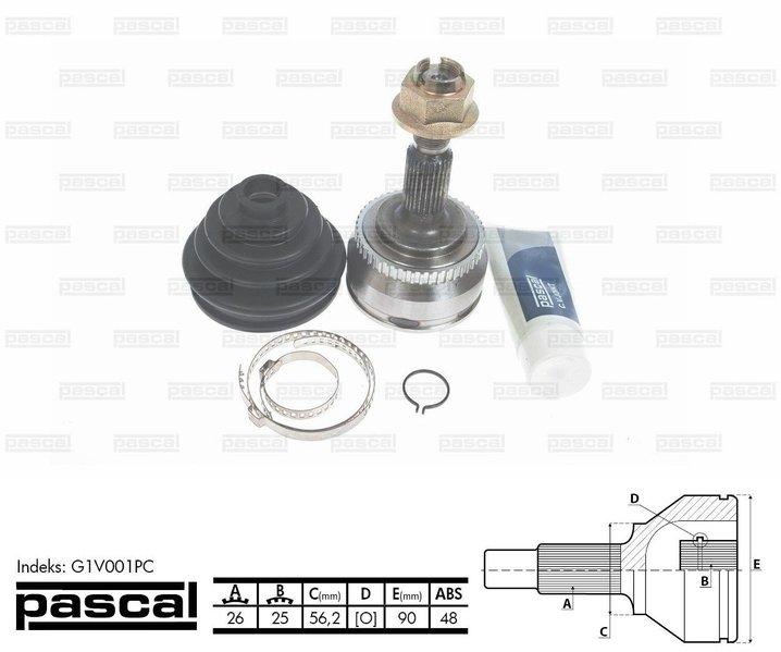 Przegub napędowy zewnętrzny PASCAL G1V001PC - darmowa dostawa do 5000 warsztatów Motointegrator Partner i 170 sklepów Inter Cars