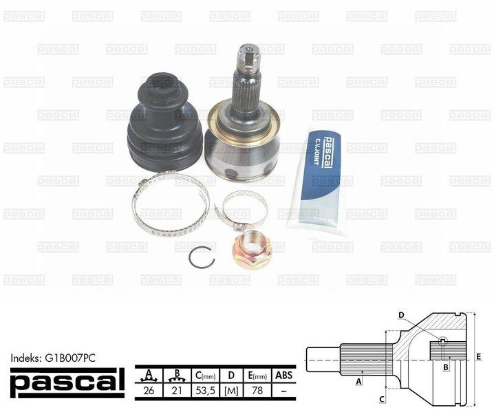 Przegub napędowy zewnętrzny PASCAL G1B007PC - darmowa dostawa do 5000 warsztatów Motointegrator Partner i 170 sklepów Inter Cars