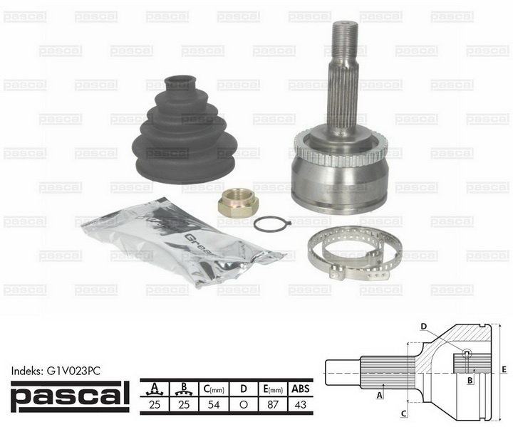 Przegub napędowy zewnętrzny PASCAL G1V023PC - darmowa dostawa do 5000 warsztatów Motointegrator Partner i 170 sklepów Inter Cars