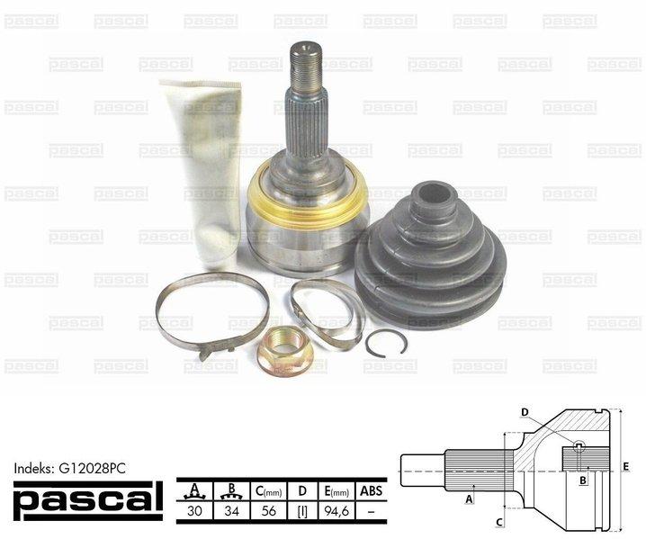 Przegub napędowy zewnętrzny PASCAL G12028PC - darmowa dostawa do 5000 warsztatów Motointegrator Partner i 170 sklepów Inter Cars