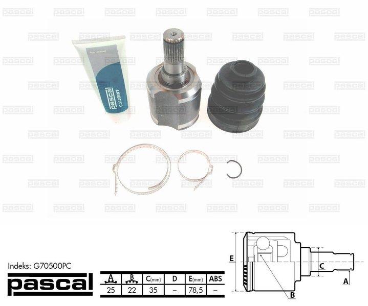 Przegub napędowy wewnętrzny PASCAL G70500PC - darmowa dostawa do 5000 warsztatów Motointegrator Partner i 170 sklepów Inter Cars