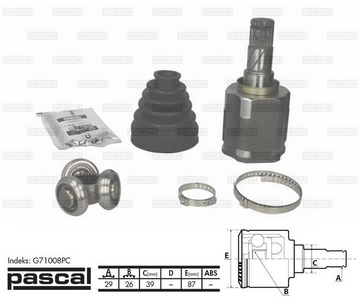 Przegub napędowy wewnętrzny PASCAL G71008PC - darmowa dostawa do 5000 warsztatów Motointegrator Partner i 170 sklepów Inter Cars