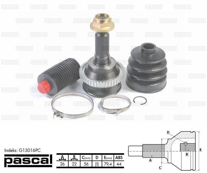 Przegub napędowy zewnętrzny PASCAL G13016PC - darmowa dostawa do 5000 warsztatów Motointegrator Partner i 170 sklepów Inter Cars