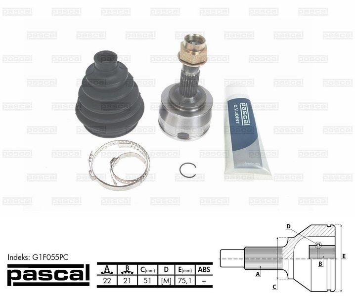 Przegub napędowy zewnętrzny PASCAL G1F055PC - darmowa dostawa do 5000 warsztatów Motointegrator Partner i 170 sklepów Inter Cars
