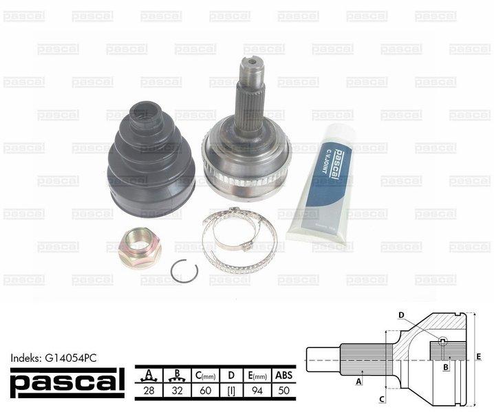 Przegub napędowy zewnętrzny PASCAL G14054PC - darmowa dostawa do 5000 warsztatów Motointegrator Partner i 170 sklepów Inter Cars