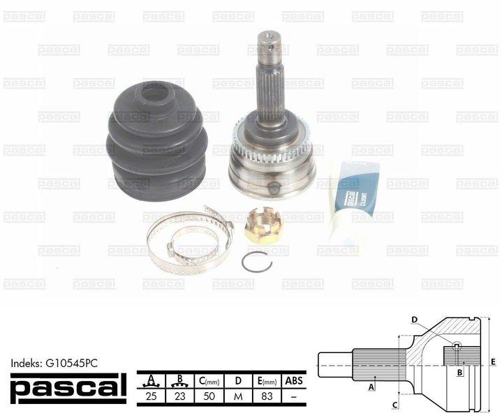 Przegub napędowy zewnętrzny PASCAL G10545PC - darmowa dostawa do 5000 warsztatów Motointegrator Partner i 170 sklepów Inter Cars
