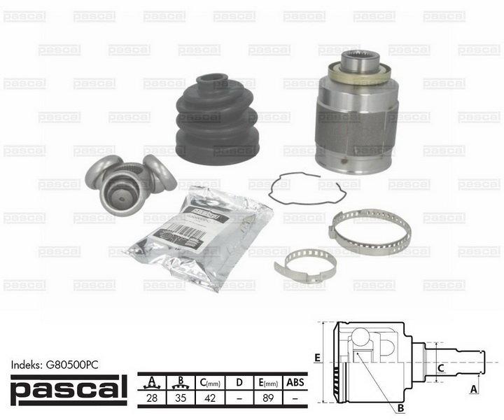 Przegub napędowy wewnętrzny PASCAL G80500PC - darmowa dostawa do 5000 warsztatów Motointegrator Partner i 170 sklepów Inter Cars