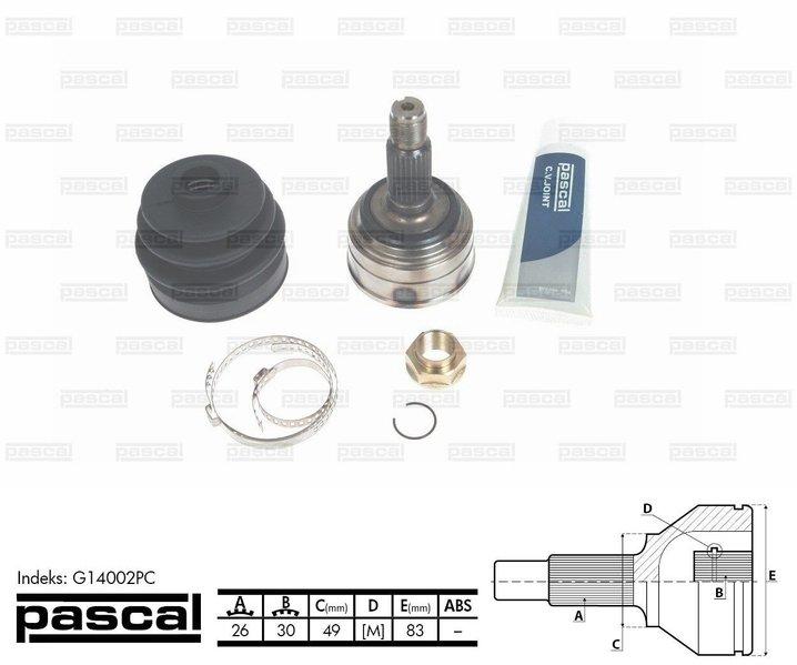 Przegub napędowy zewnętrzny PASCAL G14002PC - darmowa dostawa do 5000 warsztatów Motointegrator Partner i 170 sklepów Inter Cars