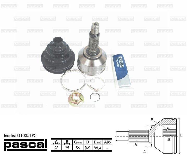 Przegub napędowy zewnętrzny PASCAL G10351PC - darmowa dostawa do 5000 warsztatów Motointegrator Partner i 170 sklepów Inter Cars
