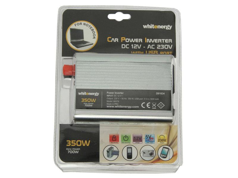 Przetwornica samochodowa WHITENERGY 12/230 V, 350 W + USB