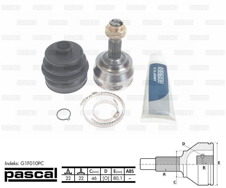 Przegub napędowy zewnętrzny PASCAL G1F010PC - darmowa dostawa do 5000 warsztatów Motointegrator Partner i 170 sklepów Inter Cars