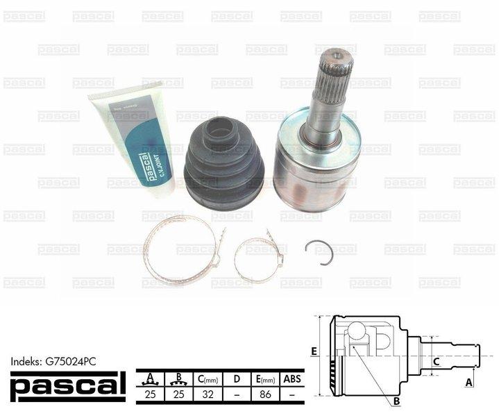 Przegub napędowy wewnętrzny PASCAL G75024PC - darmowa dostawa do 5000 warsztatów Motointegrator Partner i 170 sklepów Inter Cars