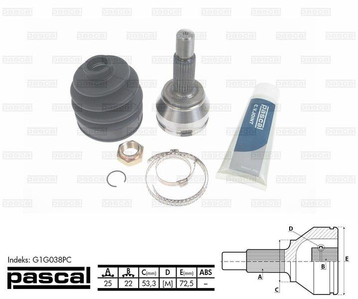 Przegub napędowy zewnętrzny PASCAL G1G038PC - darmowa dostawa do 5000 warsztatów Motointegrator Partner i 170 sklepów Inter Cars