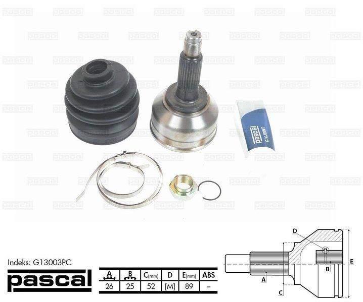 Przegub napędowy zewnętrzny PASCAL G13003PC - darmowa dostawa do 5000 warsztatów Motointegrator Partner i 170 sklepów Inter Cars