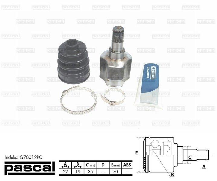 Przegub napędowy wewnętrzny PASCAL G70012PC - darmowa dostawa do 5000 warsztatów Motointegrator Partner i 170 sklepów Inter Cars
