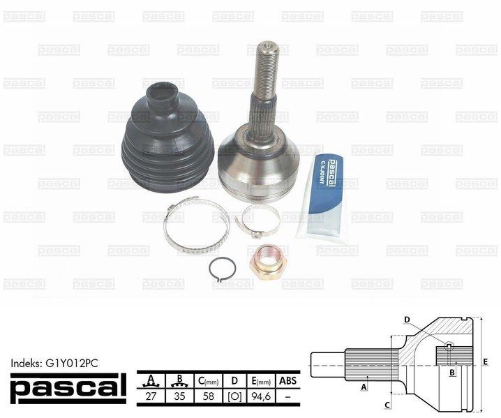 Przegub napędowy zewnętrzny PASCAL G1Y012PC - darmowa dostawa do 5000 warsztatów Motointegrator Partner i 170 sklepów Inter Cars